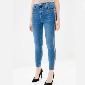 TOPSHOP MOTO Jamie Stripe Bejeweled High Rise Jean
